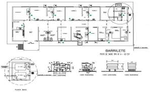 AutoCAD DWG showing a floor plan of a commercial complex. Download the AutoCAD 2D file