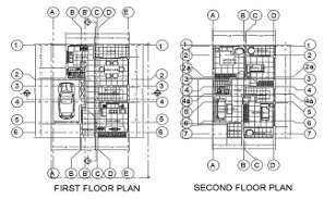 AutoCAD House Center Line Plan Drawing DWG File