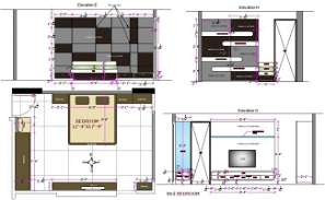 Bedroom Plan And Elevation Drawing DWG File