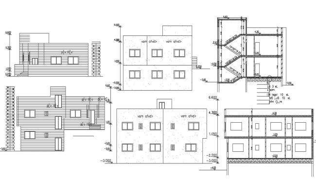 Bungalow Building Sectional Elevation Design DWG File