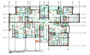 Centre line Apartment Plan With Electrical Layout Drawing DWG File