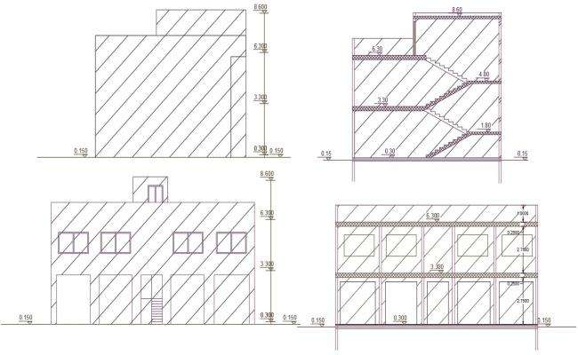 Commercial Shop Building Design CAD Drawing