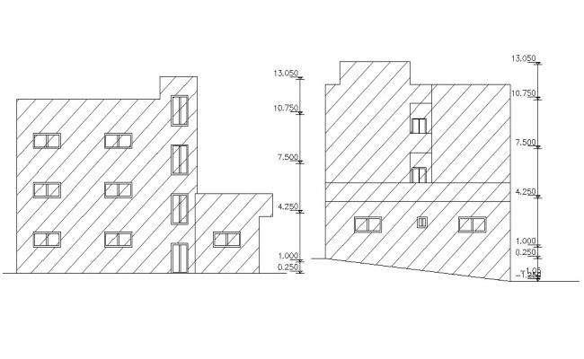 Contemporary Apartment Elevations Design CAD File