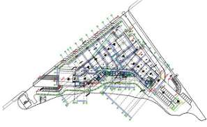 Corporate Office Building Ground Floor Plan With Center Line DWG File