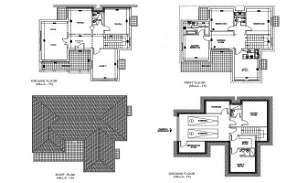 DWG drawing file has the villa of basement plan, ground floor plan, first floor plan and roof plan.  Download the DWG drawing file.