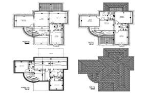File shows the autocad DWG drawing of villa plan it contain Basement Plan, Ground floor plan, first floor plan and roof plan.  Download DWG file.