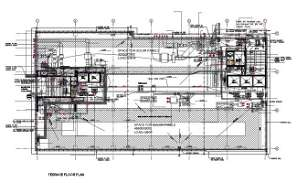 File shows the terrace floor plan, electrical layout, alarm layout,  lighting and fire fighter layout.  Download the DWG file.