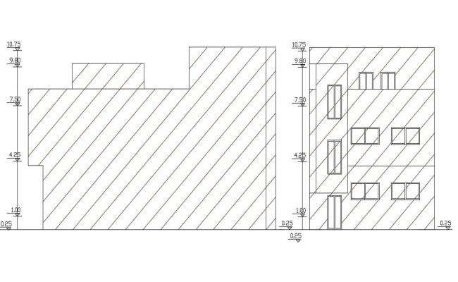 Free Download Front And Side Elevation Design DWG File