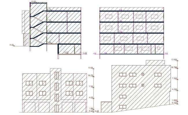 Front And Side View Apartment Building Design DWG File