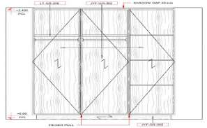 Front elevation of the cupboard design given in this cad file.  Download this 2d AutoCAD drawing file.
