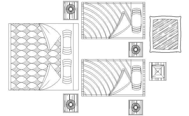 Furniture Bed Elevation Design 2d CAD Block