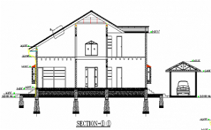 G+1 house front elevation and section details AutoCAD DWG drawing file is provided.