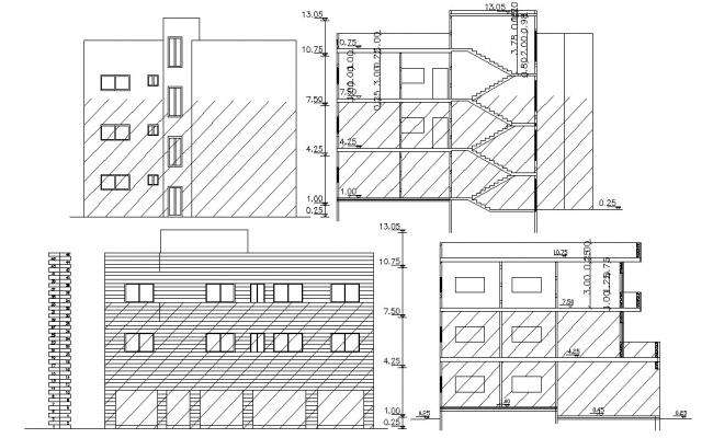 G+2 Living Apartment Elevation and Section Drawing
