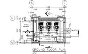 Ground floor plan of the Pump motor room typical section details is given in this DWG CAD Drawing.  Download the AutoCAD file now.