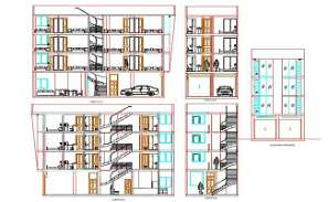 Hostel Building Sectional Elevation Drawing DWG File