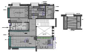 House Layout Plan With AutoCAD Hatching Design DWG File