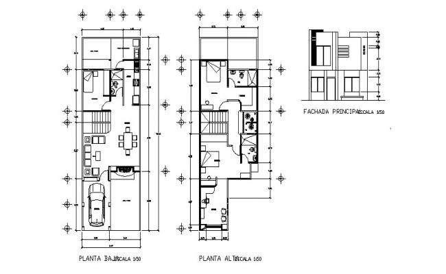 3 BHK House Plan AutoCAD File  Plot Size 210 Square Yards