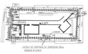 Layout of footing wall compound wall given in this autocad drawing file. Download the Autocad DWG drawing file.