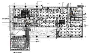 MEP layout second floor plan of  commercial tower has given in the form of Autocad 2D DWG drawing model.  Download the Autocad file.