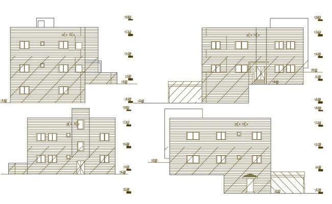 Modern House Building Elevation Design AutoCAD File
