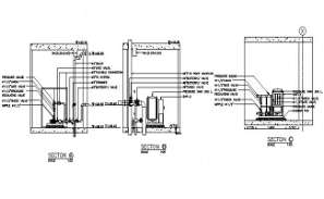 Pump motor connection typical section details are given in this DWG CAD Drawing.  Download the AutoCAD file now.