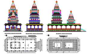 Ram Temple Plan And Elevation Design AutoCAD File