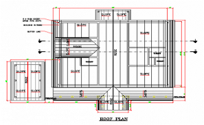 Roof plan section details of G+1 house AutoCAD DWG drawing file are provided.  Download the AutoCAD 2D DWG file.
