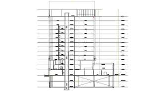 Section and elevation of commercial tower shown in the 2D Autocad DWG drawingf file.  Downlaod 2D Autocad file.
