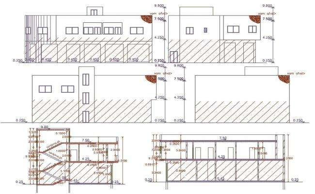 Shop With 2 Unit House Building Design DWG File