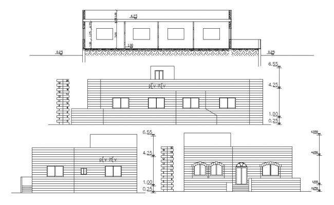 Single Storey Bungalow Section and Elevation CAD Drawing