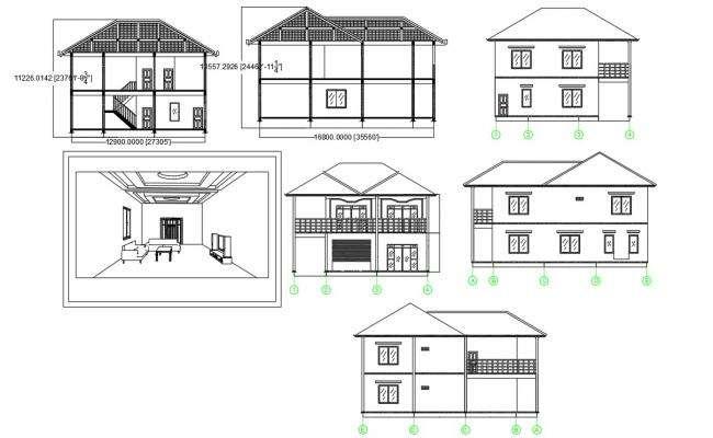 Span Truss Roof House Building Design AutoCAD File