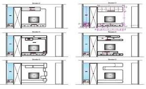 TV Unit Furniture Elevation Drawing DWG File