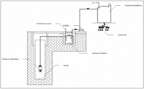 Water tank elevation, section and plan cad drawing details