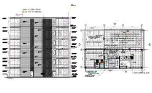 Terrace  plan and elevation of office building given in the Autocad 2D DWG drawing model.  Download the DWG Autocad file.