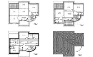 The autocad DWG drawing File shows  villa plan of Basement Plan, Ground floor plan, first floor plan and roof plan.   Download DWG file.