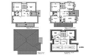 The autocad DWG drawing File shows  villa plan of Basement Plan, Ground floor plan, first floor plan and roof plan. Download the Autocad file.