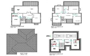 The file has the 2D Autocad model of Basement Plan, Ground floor plan, first floor plan and roof of villa.  Download DWG file.