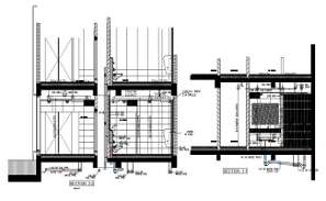 The ground floor toilet details and section details of office building  were given in this file with 2D Autocad drawing model.  Download the DWG Autocad file.