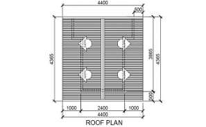 The roof plan detail drawing is given in this Autocad file.  Download this 2d Autocad drawing file.
