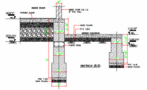 The section details of the  Columns and flooring are provided in this AutoCAD DWG Drawing File. Download the 2D CAD DWG file now.