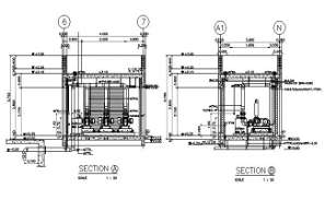 Typical section details of the Pump motor room is given in this DWG CAD Drawing.Download the free AutoCAD file now.