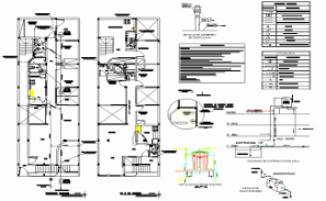Isometric view of plumbing riser and HVAC plan dwg file