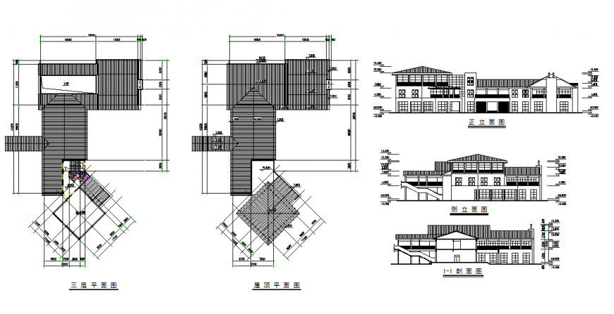 Modern Bungalow Elevation Top Roof Design In The Drawing File Cadbull