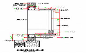 section details of the main door AutoCAD DWG drawing file is provided. Download the AutoCAD 2D DWG file.