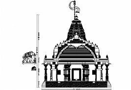 Temple cad block, Hindu temple plan, front and rear