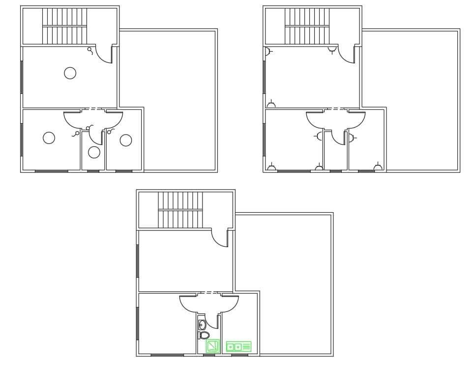 1 Bhk House Floor Plan Autocad Drawing Cadbull