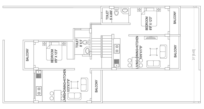 1 Bedroom Apartment Furniture Layout Plan Cadbull