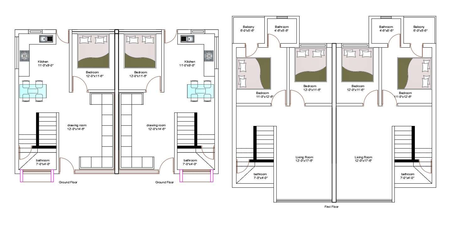 1000 Sq Ft House Plans 3 Bedroom Indian Style Autocad File Cadbull