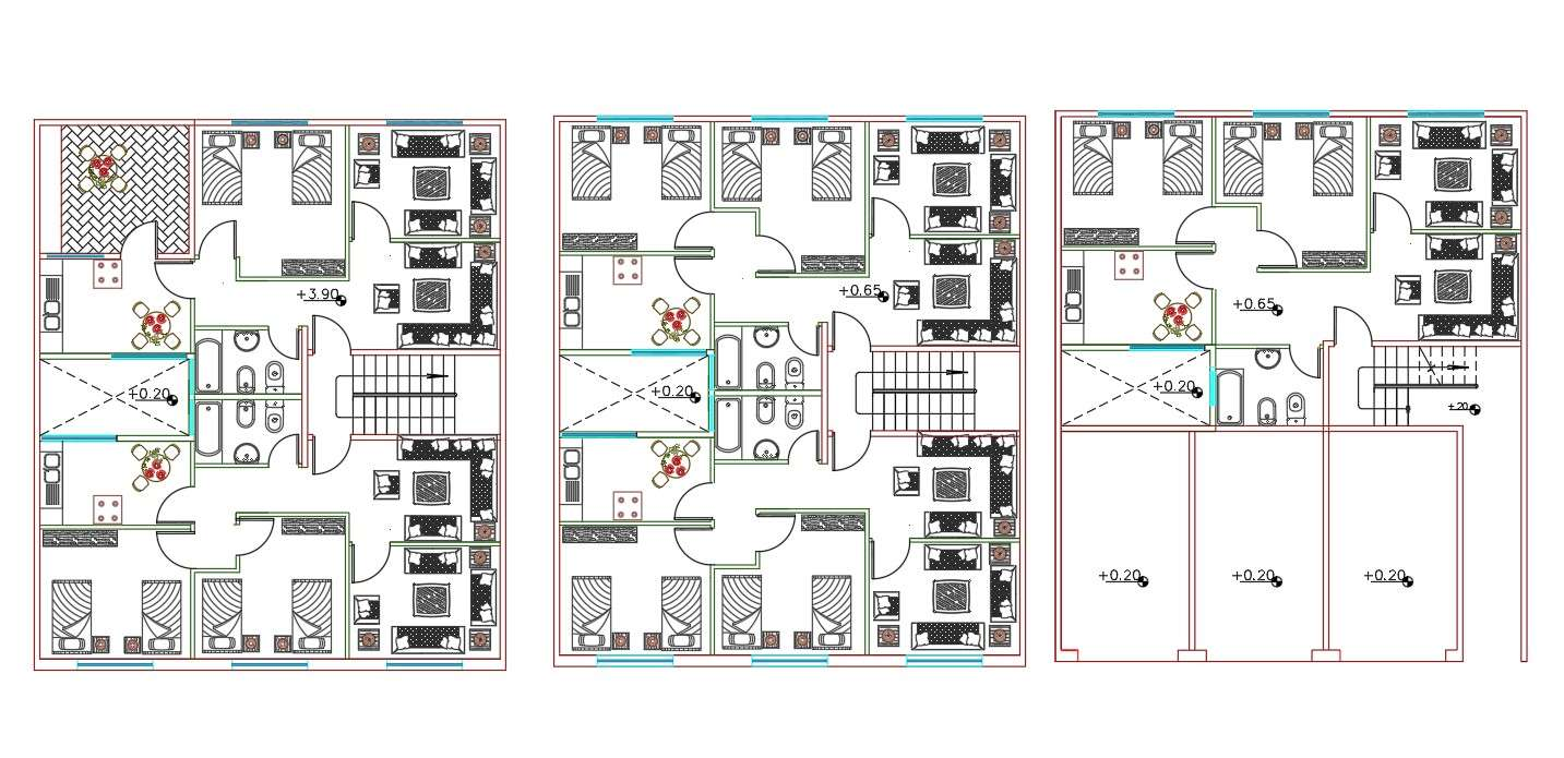1 Bhk And 2 Bhk Apartment House Furniture Layout Plan Dwg Cadbull