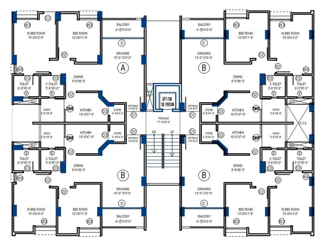2 Bhk Apartment Beam Layout Plan Autocad File Cadbull